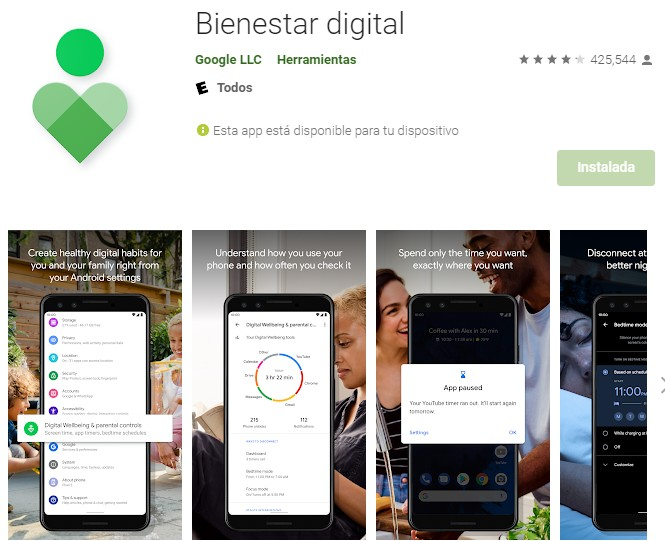 Bienestar digital Android Google Play Store